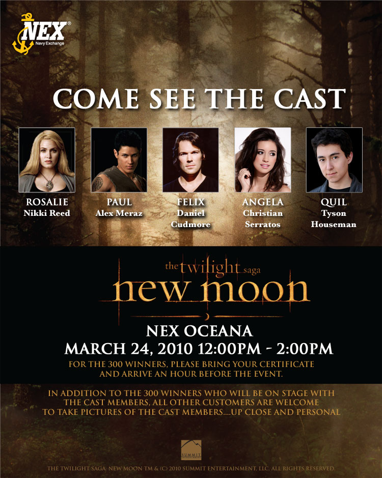 new moon cast to appear at navy exchange